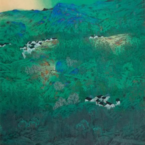 """Hu Jialong""""Silent Spring Mountain Figure"""" 290x290 - 2012 National Exhibition of Chinese Paintings on view at the China Art Museum"""