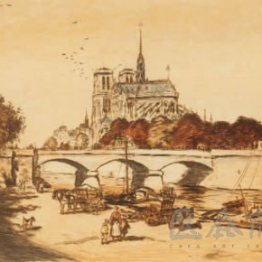"""Jean Francois Raffaelli, """"The Scenery of Cathedral of Notre Dame"""", 1904"""