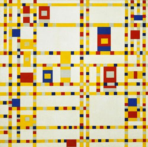 "Piet Mondrian, ""Broadway Boogie Woogie"", 1942-43, oil on canvas, 127x127cm at the Museum of Modern Art"