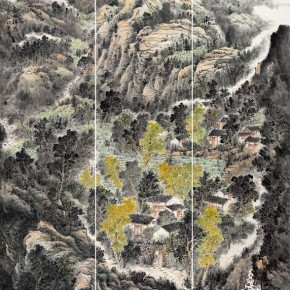 """Sun Jinghao""""Auspicious Spring Mountain Houses"""" 290x290 - 2012 National Exhibition of Chinese Paintings on view at the China Art Museum"""