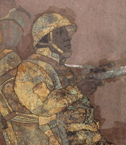 """Wang Yunqu""""Soldiers SortieSeries No.2"""" 253x290 - 2012 National Exhibition of Chinese Paintings on view at the China Art Museum"""