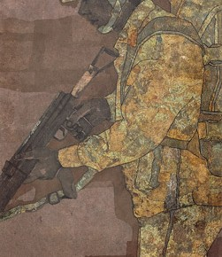 """Wang Yunqu""""Soldiers SortieSeries No.3"""" 251x290 - 2012 National Exhibition of Chinese Paintings on view at the China Art Museum"""