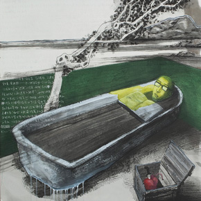 "Art Diary on ""Green Wall: The Bathroom "" by Zhang Xiaogang"