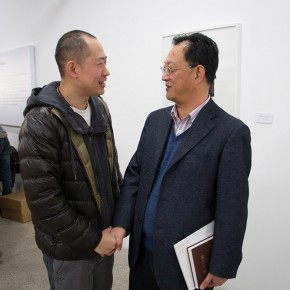 """02 Sun Hongpei, deputy secretary of the CPC of the CAFA and Wu Jiang at the installation of """"Review What You Have Learned and Learn the New Wu Jiang's Woodcut"""""""