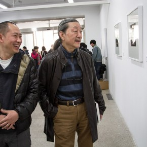 """03  Prof. Yuan Yunsheng and Wu Jiang at the installation of """"Review What You Have Learned and Learn the New Wu Jiang's Woodcut"""""""