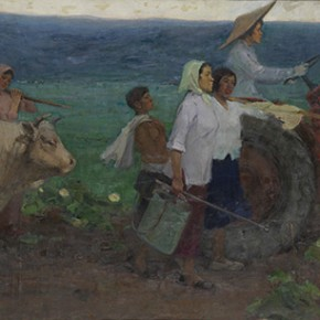 "Deng Shu ""Go to Farm"" graduated works 1960 115 x 300 cm 290x290 - The 20th China's Art Road - Studying in the Soviet Union Inaugurated at National Art Museum of China"