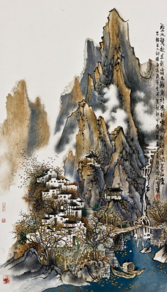 Fang Jun, Annals of Yun Mountain, 2007; ink and color on paper, 92×52cm