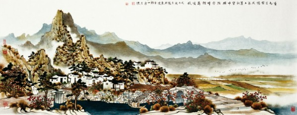 Fang Jun, Sunny Fog Beyond the Horizon of Autumn, 2008; ink and color on paper, 56.5×142.5cm
