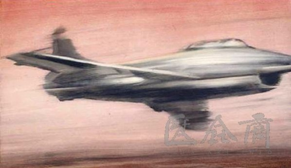 "Gerhard Richter, ""Jet Fighter"", 1963, 130 x 200 cm, oil on canvas"
