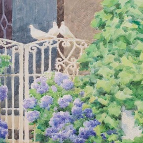 """Huang Jufen """"Memory of the Old House"""" water color on paper 55 x 38 cm 2008 290x290 - Shenzhen Outstanding Painters Series: Academic Research Exhibition of Huang Jufen held at Guan Shanyue Art Museum"""