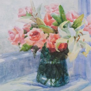 """Huang Jufen """"Red Rose and Lily"""" water color on paper 38 x 55 cm 2010 290x290 - Shenzhen Outstanding Painters Series: Academic Research Exhibition of Huang Jufen held at Guan Shanyue Art Museum"""