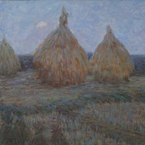 "Huang Jufen ""The Field in the Evening"" oil on canvas 65 x 64 cm 1995 290x290 - Shenzhen Outstanding Painters Series: Academic Research Exhibition of Huang Jufen held at Guan Shanyue Art Museum"