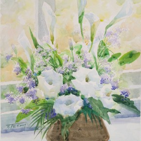 """Huang Jufen """"The Fragrant in the Sunlight"""" water color on paper 38 x 55 cm 2009  290x290 - Shenzhen Outstanding Painters Series: Academic Research Exhibition of Huang Jufen held at Guan Shanyue Art Museum"""