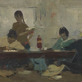 "Li Jun ""Studying at Night School"" draft of graduated creation 1961 oil on painting 44 x 105 cm 290x290 - The 20th China's Art Road - Studying in the Soviet Union Inaugurated at National Art Museum of China"