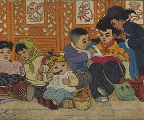 "Li Tianxiang ""Children Library"" 2nd edition 1958 oil painting 90 x 230 cm 290x243 - The 20th China's Art Road - Studying in the Soviet Union Inaugurated at National Art Museum of China"