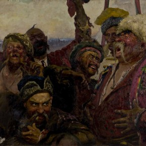 "Luo Gongliu copy of Ilya Repin's works ""Reply of the Zaporozhian Cossacks to Sultan Mehmed IV of the Ottoman Empire"" 1880 1891 oil on canvas 203 x 358 cm 1958 oil painting 85 x 130 cm 290x290 - The 20th China's Art Road - Studying in the Soviet Union Inaugurated at National Art Museum of China"