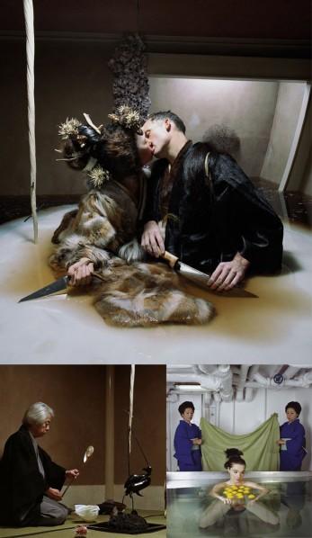 "Photo of the film ""Drawing Restraint 9"", Matthew Barney and Bjork wearing Kimonos"