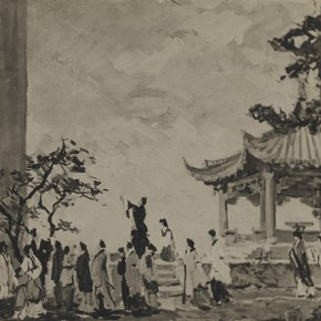"Qi Mudong draft of stage design of ""Qu Yuan"" the graduated creation 04 1956 57 in the collection of Qi Mudong' family  290x290 - The 20th China's Art Road - Studying in the Soviet Union Inaugurated at National Art Museum of China"
