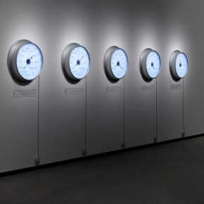 """Raqs Media Collective Now Elsewhere 2009 5 clocks high gross aluminium with LED lights variable size Photo by Anders Sune Berg © Faurschou Foundation 02 290x290 - Faurschou Foundation unveils its group exhibition """"Every Day Matters"""" in Copenhagen"""