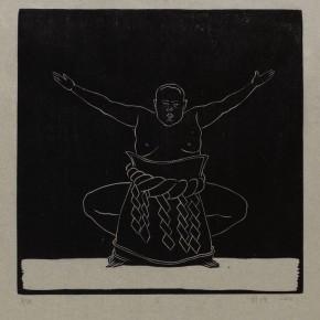 """Wu Jiang, """"Dust"""", 2012; woodcut, 29.9x30cm"""