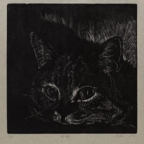 """Wu Jiang, """"Gurgle"""", 2012; woodcut, 30 x 30 cm"""