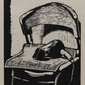 """Wu Jiang, """"Hair Dryer"""", 2011; woodcut   59.9x30cm"""