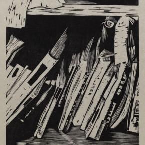 "Wu Jiang, ""New Magazine"", 2011; woodcut, 63 x 30.1 cm"