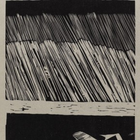 "Wu Jiang, ""Oil Magazine"", 2011; woodcut, 59.8 x 31.5 cm"