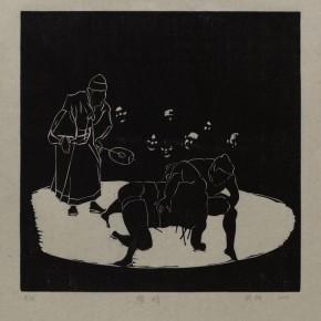 "Wu Jiang,, ""Stalemate"", 2012; woodcut, 30 x 30 cm"