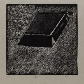 """Wu Jiang, """"Sunroof No.1"""", 2012; woodcut, 30 x 30 cm"""