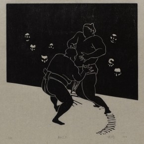 """Wu Jiang """"Wrestling No.6"""" 2012 woodcut 30 x 30 cm 290x290 - """"Review What You Have Learned and Learn the New: Wu Jiang's Woodcuts"""" Held at the Central Academy of Fine Arts"""