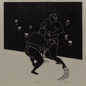 """Wu Jiang, """"Wrestling No.6"""", 2012; woodcut, 30 x 30 cm"""