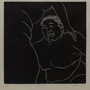 """Wu Jiang, """"Wrestling No.8"""", 2012; woodcut, 30 x 30 cm"""