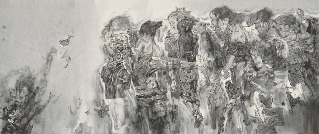 An ink drawing of many bodies clustered together, as if floating