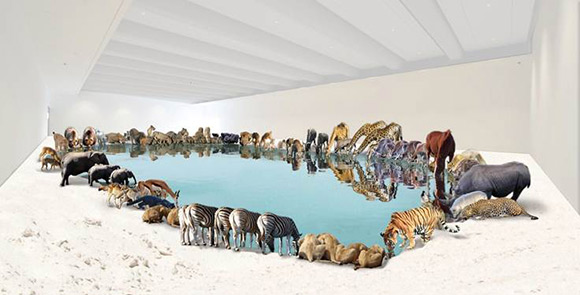 Cai Guo-Qiang, Heritage (artist's impression) 2013  99 life-sized replicas of various animals, water, sand  Commissioned for the exhibition 'Cai Guo-Qiang', Queensland Art GalleryGallery of Modern Art  Courtesy and  © The artist
