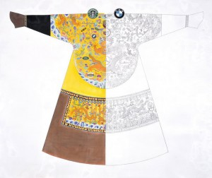 """Cui Qiang """"Made in China No.1"""" 160×190 cm colored on silk 2012  300x252 - Cui Qiang, """"Made in China No.1"""", 160×190 cm, colored on silk, 2012"""