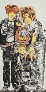 "Huang Yihan ""Cartoon Hero"" 122×244 cm ink on paper 2011 150x300 - Huang Yihan, ""Cartoon Hero"", 122×244 cm, ink on paper, 2011"
