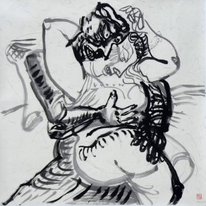"Luo Zhongli, ""Embracing Series"" ink on paper, 125×125 cm, 2012"