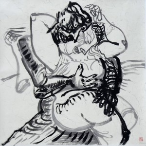 """Luo Zhongli """"Embracing Series"""" ink on paper 125×125 cm 2012  300x300 - Luo Zhongli, """"Embracing Series"""" ink on paper, 125×125 cm, 2012"""