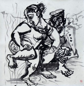 """Luo Zhongli """"Spring Rain"""" ink on paper 125×125 cm 2012  296x300 - Luo Zhongli, """"Spring Rain"""", ink on paper, 125×125 cm, 2012"""