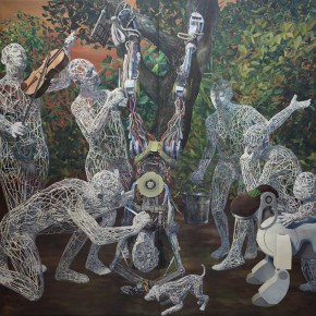 "Miao Xiaochun ""Discovery of Something Out of Nothing – Public Enemy"" oil on canvas 400 x 400 cm 2012 290x290 - Press Conference of the ""Exhibition of Chinese Pavilion for the 55th Venice Biennale"" Held in Beijing"