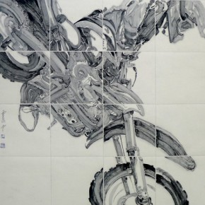 "Peng Zhenzhong, ""Beauty Shadow Tiger Downs"", ink on paper, 120×180 cm, 2012"