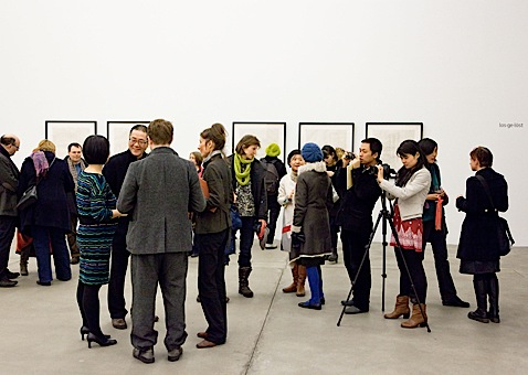 Wang Huangsheng (center left) roaming and connecting.  Photo by Daisy Loewl, courtesy of gallery