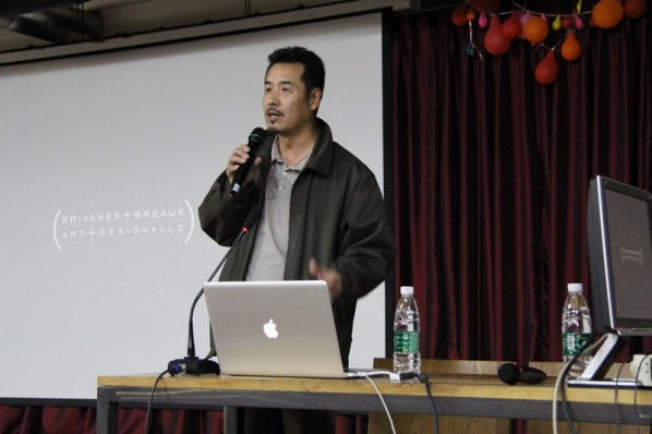 Wang Zhong, Associate Dean of the School of Urban Design introduced BJ Krivanek to the audience