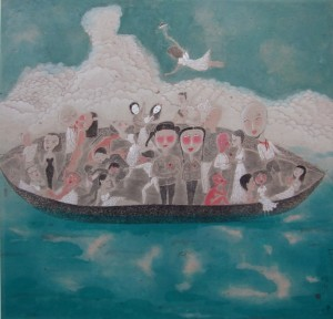 """Yan Yongjun """"Dreams Ferry"""" ink and color on paper 148×148 cm 2012  300x288 - Yan Yongjun, """"Dreams Ferry"""", ink and color on paper, 148×148 cm, 2012"""