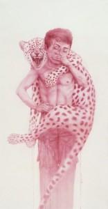 "Yang Shewei ""Pink Men Series Do not Forget"" ink on paper 172×92 cm 2012  156x300 - Yang Shewei, ""Pink Men Series Do not Forget"", ink on paper, 172×92 cm, 2012"