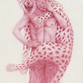 "Yang Shewei, ""Pink Men Series Do not Forget"", ink on paper, 172×92 cm, 2012"