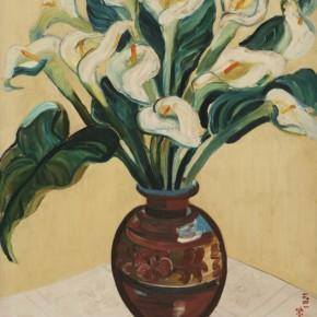 """07 Guan Zilan, """"Arrowhead Flowers"""", oil painting, 76 x 63.4 cm, 1941"""