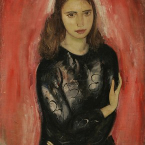 "15 Su Tianci, ""Young Girl Dressing in Black"", oil on canvas, 82 x 66.5 cm, 1949"