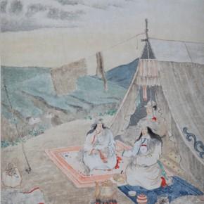 "16 Sun Zongwei, ""Mongolian and Tibetan life Figure - Offer Tea"", Chinese painting, 42 x 32 cm, 1941"